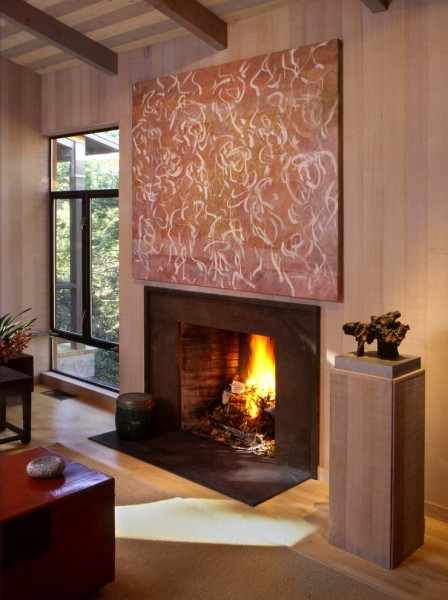 Wausau Windows for Contemporary Living Room with Wood Walls