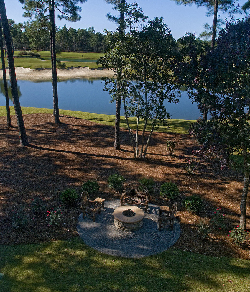 West Cobb Pine Straw for Traditional Landscape with Patio Furniture
