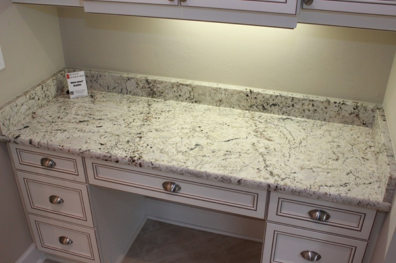 White Galaxy Granite for Traditional Home Office with Corner
