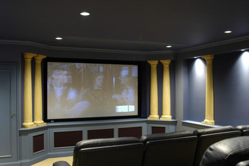 Winnetka Theater for Contemporary Home Theater with Custom Cabinetry