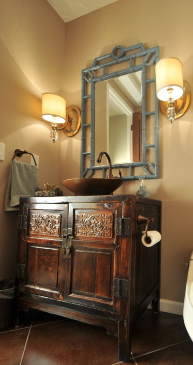 Wolf Gordon Wallcovering for Asian Powder Room with Bronze Vessel Sink