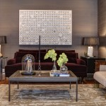 Wolf Gordon Wallcovering for Contemporary Living Room with Dark Sofa