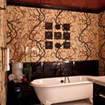 Wolf Gordon Wallcovering for Victorian Bathroom with Wall Decor