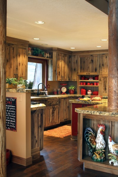 Woodland Cabinetry for Farmhouse Kitchen with Roosters