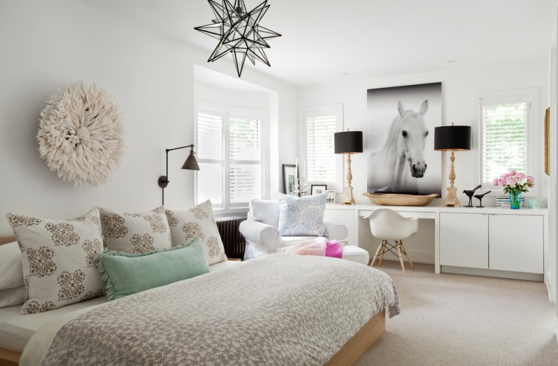 Worts for Transitional Bedroom with Black Swing Arm Wall Sconce