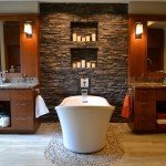 Www.coasterfurniture.com for Contemporary Bathroom with Stacked Stone Wall