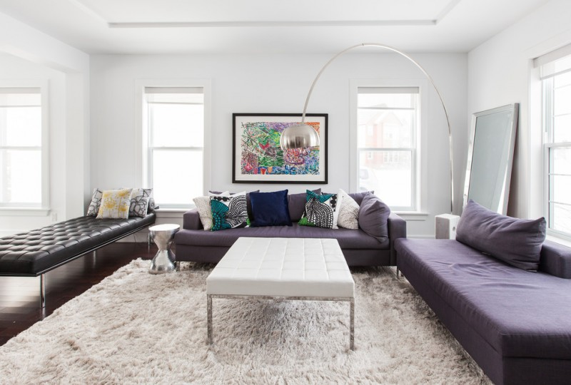 Zack White Leather for Contemporary Living Room with White Leather Coffee Table