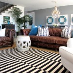 Zack White Leather for Traditional Family Room with Blue Velvet