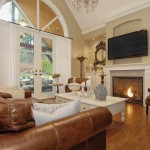 Zack White Leather for Traditional Family Room with Wall Mounted Tv
