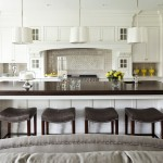 Zack White Leather for Transitional Kitchen with Wood Top Island