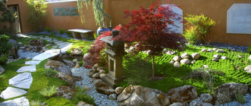 Zeon Zoysia for Asian Landscape with Garden Wall