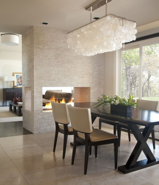 Zoom Room Denver for Contemporary Dining Room with Open Fireplace